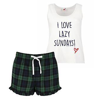 I Love Lazy Sundays Pyjamas Ladies Tartan Frill Short Pyjama Set Red Blue or Green Blue