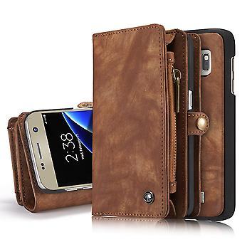 CASEME Samsung Galaxy S7 retro nahka lompakko kotelo-kahvi