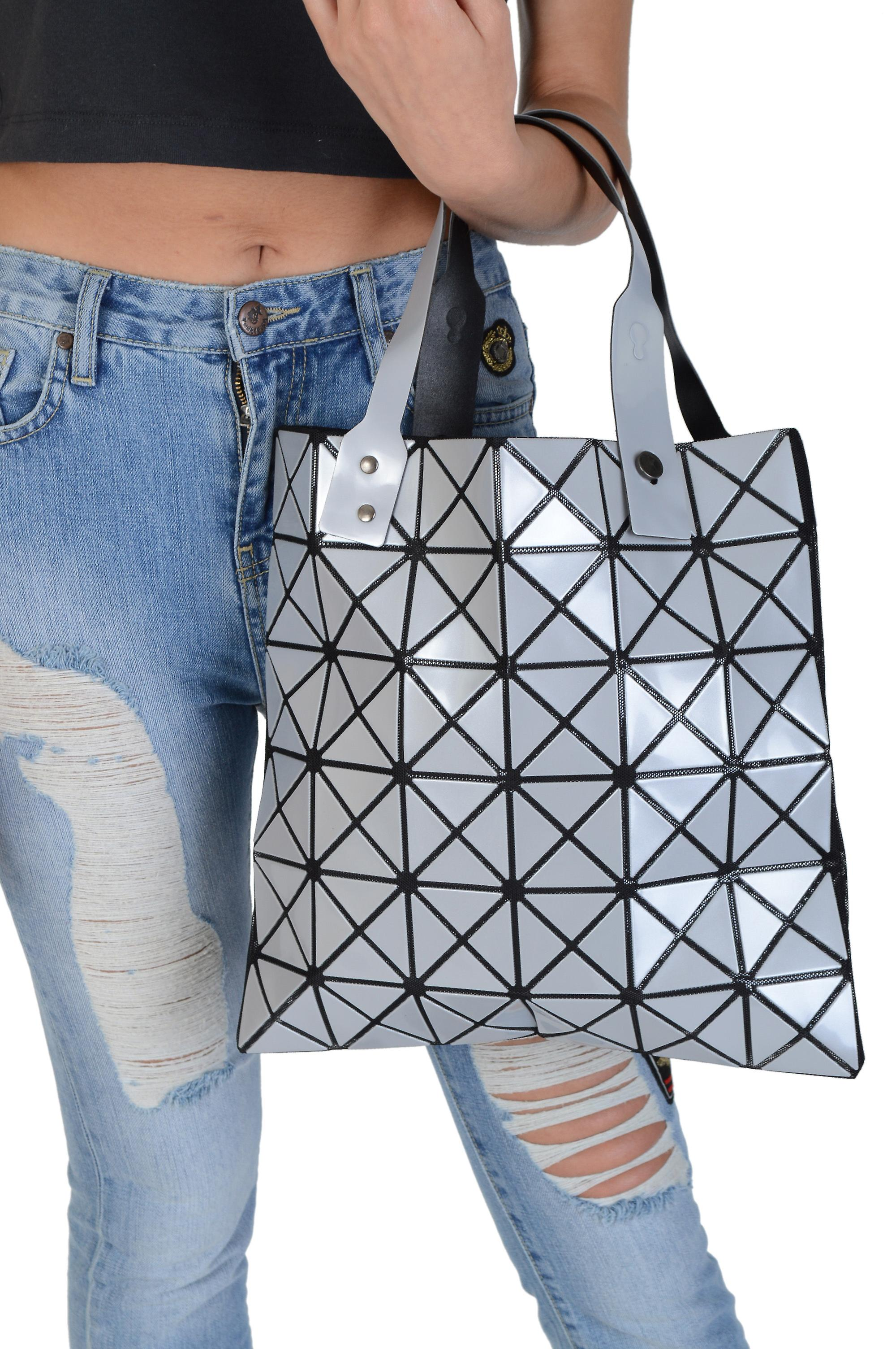 Lovemystyle Silver and Black Triangle Tote Bag