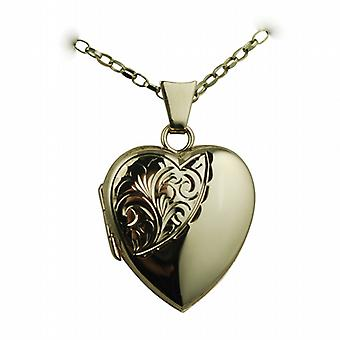9ct Gold 21x19mm half hand engraved heart shaped Locket with a belcher Chain 24 inches