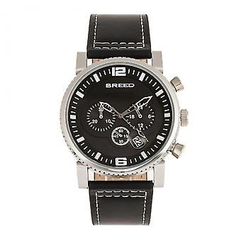 Breed Ryker Chronograph Leather-Band Watch w/Date - Black
