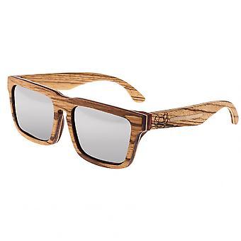 Earth Wood Pensacola Polarized Sunglasses - Zebra & Maple/Silver