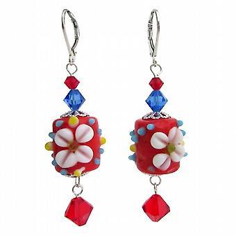 Rød blomst Lampwork Swarovski krystaller Sterling sølv øreringe