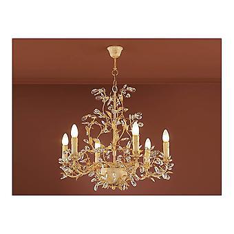 Schuller Vintage Gold Ivory Hanging LED Ceiling 6 Light Rings