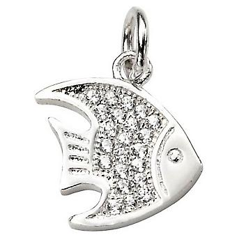 Inizii Angelo pesce zirconi Ciondolo - argento