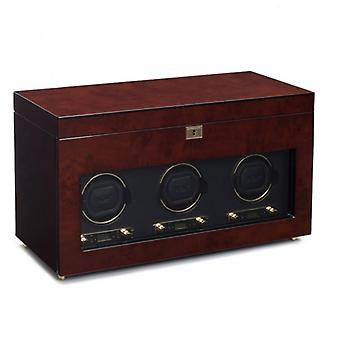 Wolf Designs Savoy Burlwood & Gold Triple Watch Winder 2.7 With Storage