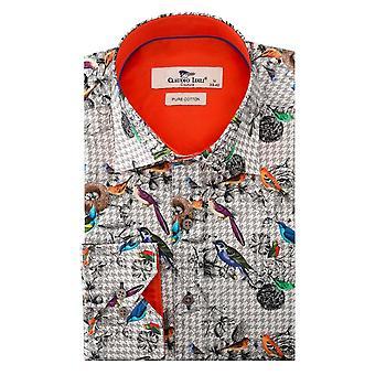 Claudio Lugli Bird And Grey Check Print Mens Shirt