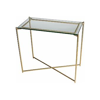 Gillmore Clear Glass Small Console Table With Brass Cross Base