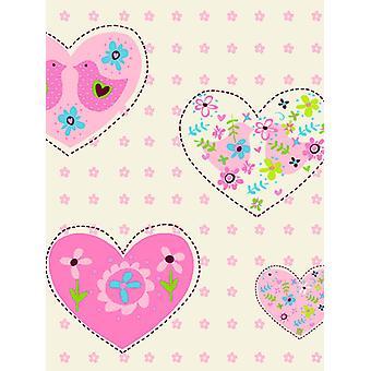 Hearts and Birds Wallpaper Pink Debona 6340