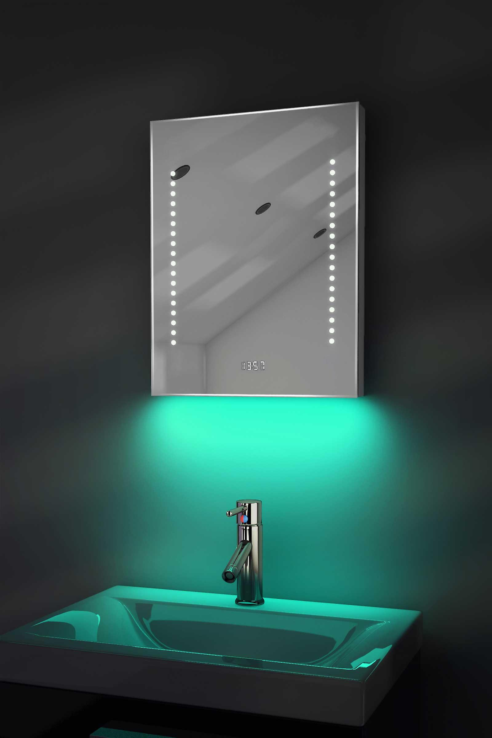Digital Clock Slim Mirror with Under Lighting, Demist & Sensor k188w
