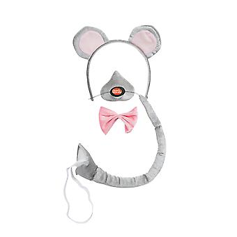 Bristol Novelty Unisex Mouse Ears Nose Bow Tie And Tail Set With Sound