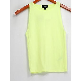 Top Shop Top Sleeveless Ribbed w/ Rounded Neckline Yellow