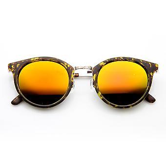 Retro P-3 metalen tempel kleur Flash Mirror Lens ronde zonnebril