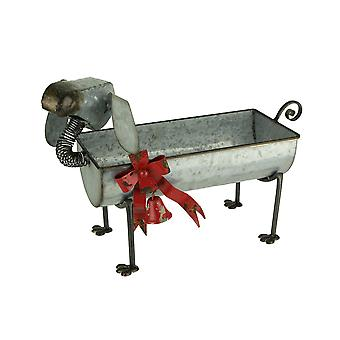 Metal Art Holiday Dog with Bow and Bell Indoor Outdoor Planter Sculpture