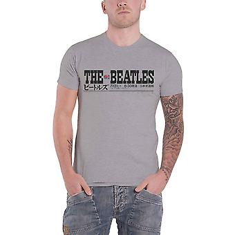 The Beatles T Shirt Budokan Set List Back Print Band Logo Ufficiale Mens Grey