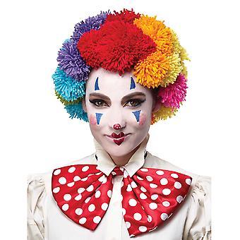 Regenbogen Pom Pom Clown Afro her Zirkus Halloween Damen Herren Kostüm Perücke