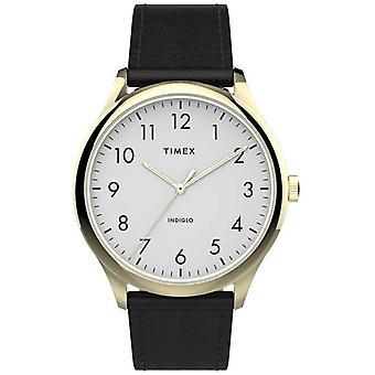 Timex | Enkel leser 40mm | Svart skinn strap | Hvit Dial | TW2T71700 sjekk
