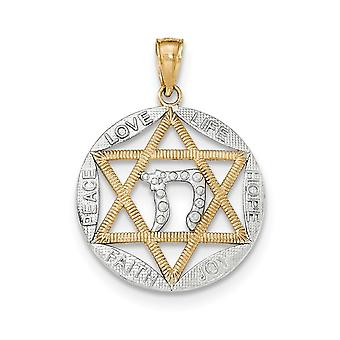 14k tofarget solid teksturert tilbake gull polert jødisk stjerne med chai i runde anheng halskjede smykker gaver til kvinner