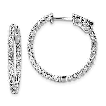 925 Sterling Silver Polished Hinged hoop Safety clasp Rhodium Plated CZ Cubic Zirconia Simulated Diamond In and Out Hoop