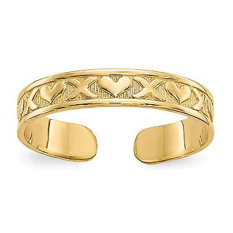 14 k Gelbgold solide strukturiert poliert X und Liebe Herzen Zehe Ring Schmuck Geschenke für Frauen