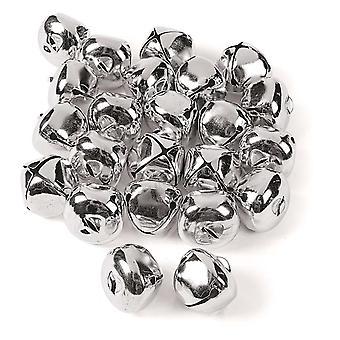 24 Jumbo Silver 35mm Jingle Bells for håndverk | Craft Bells