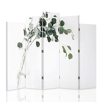 Diviseur de pièce décoratif, 5 panneaux, toile, plante dans un vase en verre