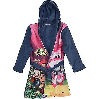 Girls DHQ2137 Super Wings Soft Fleece Hooded Dressing Gown