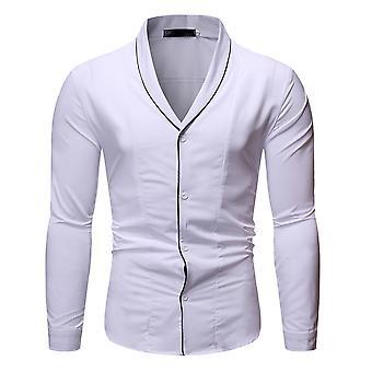 Allthemen الرجال & apos;s V-على شكل لابيل عارضة أربعة مواسم طويلة الأكمام قميص