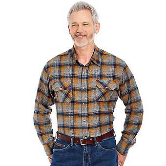 Pegasus Mens Gecontroleerd Shirt Soft Handle Geborsteld Katoen