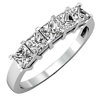 Dazzlingrock collectie IGI gecertificeerd 1,01 karaat (CTW) 14K Princess Diamond 5 stenen trouwring 1 CT, witgoud
