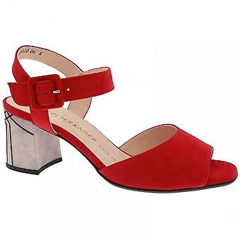 Peter Kaiser Ortrude Red Suede Block Heel Sandal