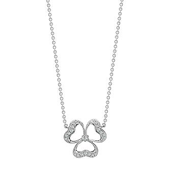 Jewelco London Solid 18ct White Gold Pave Set Round G SI1 0.11ct Diamond Shamrock Clover Lucky Charm Necklace