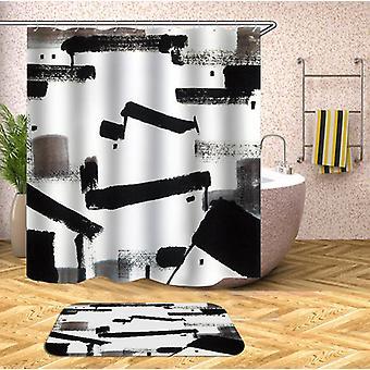 Kunst Farbe schwarz und weiß Duschvorhang