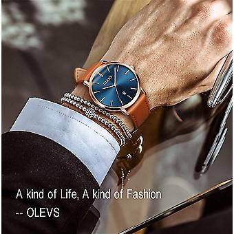 メンズ超薄型ミニマリストレザーストラップ時計、ビジネスギフトカジュアル、ブルー、Si