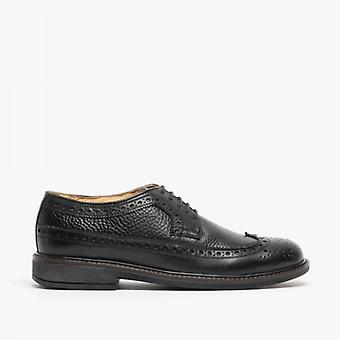 Roamers James mens lederen Lace up Brogue Gibson schoenen zwart