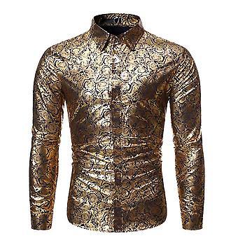 Allthemen Men's Gold Printed Dress Camicia Floral Print La camicia a maniche lunghe