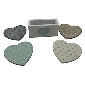 Shabby Chic Assorted Heart Coasters in Wooden Stand