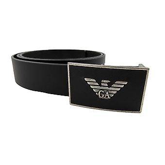 Emporio Armani Eagle Plate Buckle Belt Black