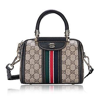LeDuruo Frauen Top-Handle Designer Handtasche mit Schultergurt, schwarz, Größe klein
