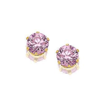 Boucles d'oreilles Eternity 9ct Gold Round Pink Cubic Zirconia Stud