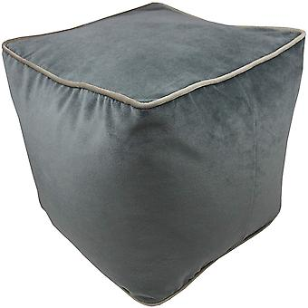 Mcalister textiles deluxe velvet charcoal grey ottoman cube