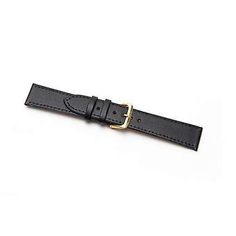 Leather watch strap extra long black stitched economy collection