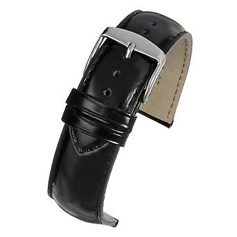 Calf leather watch strap black gloss superior grade