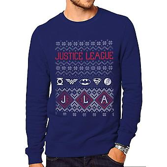 DC Originals Unisex Adults Justice League Fair Isle Design Crewneck Sweatshirt