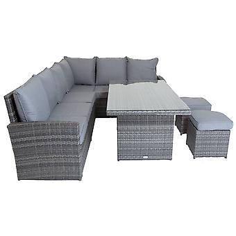Charles Bentley 6 Seater Multifunctional Casual Rattan Dining Set - Light Grey Max User Weight: 100kg per seat Weatherproof  Removable cushions