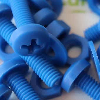 20x Blue Pan Head Polypropylene (PP) Nuts, Bolts, Washers M4 x 20mm