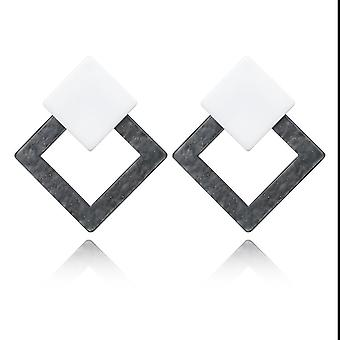 Grey Acrylic Resin Square Drop Earrings