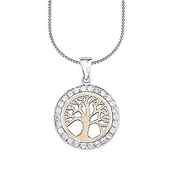 Amor Necklace for woman-with pendant - pattern: tree of life - bicolor - silver 925 gold-plated with pink zircons 45 cm - 511100