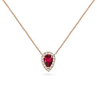 Necklace Empress 18K Gold and Diamonds with Ruby | Emerald | Sapphire - Rose Gold, Ruby
