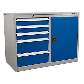 Sealey Api1103B Industrial Cabinet/Workstation 5 Drawer And 1 Shelf Locker